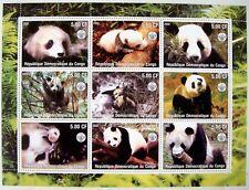 2002 MNH CONGO PANDA STAMPS SHEET OF 9 GIANT PANDA BEAR WILD ANIMALS WILDLIFE