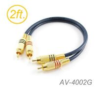 2ft 2-RCA to 2-RCA Gold-Plated Male to Male DJ/Mixer/Stereo System Audio Cable