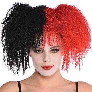 Black & Red Jesterina Halloween Fancy Dress Wig