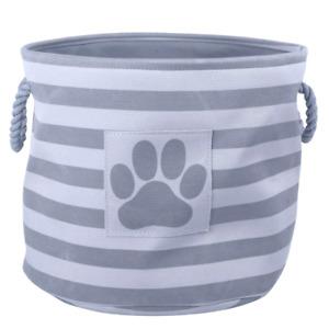Two-Tone Grey Canvas Pet Dog Toy Basket Bag Box Storage Rope Handles Foldable