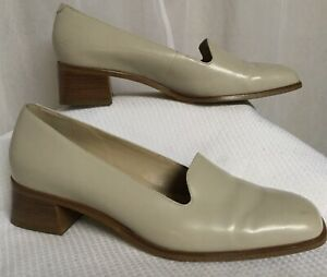 Rockport Slip On Shoes Women's Size 9.5 W Beige Leather Square Toe Dress Casual