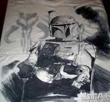 STAR WARS Mandalorian Bounty Hunter Symbol Bobba Fett Black & White Sketch Tee M