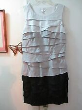 London Times -  Tiers of Ruffles Pencil Dress  - Size 8 - Shades of Gray & Black