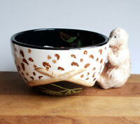 Terri Beavers Bamboo Forest by Zrike figural monkey handle soup cereal bowl