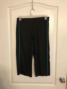 Women's Yoga Workout Capri Pants Lounge Size XS by Champion Black w Blue Lines