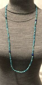 """Jay King turquoise and lapis lazuli necklace 36"""" or double, signed DTR"""