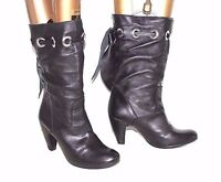 Women's Italian Slouch Mid Calf Black 100% Real Leather Boots Size UK3 EU36