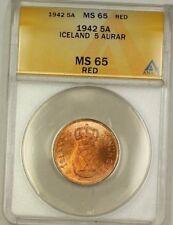 1942 Iceland 5A Five Aurar Copper Coin ANACS MS-65 Red GEM BU (J)