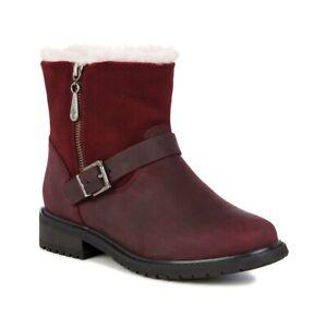 EMU Australia Womens Roadside Red Wine Leather Biker Boots Shoes