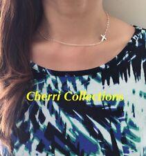 "Women's Silver Plated Small Tiny Sideways Cross Choker Pendant Necklace 15""+2"""