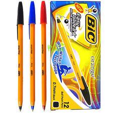 BIC Orange Fine 0.7mm NEW easy glide ball point pens (12PCS) - 3 COLOR MIX