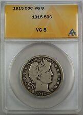 1915 Barber Silver Half Dollar, ANACS VG-8, Very Good Coin