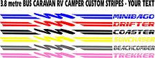 CARAVAN CAMPER DECAL STRIPES 3.8mt YOUR CUSTOM TEXT