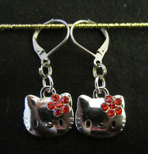 Crystal Kitty Cat Earrings~Hypoallergenic Leverback