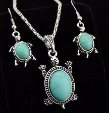 Tibetan Style Cute Turquoise Turtles Necklace Earrings Jewelry Sets
