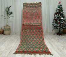"Boujaad Moroccan Handmade Runner Rug 3'1""x 10""  Bohemian Wool Red Rug"