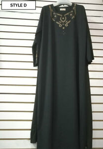 Black Islamic Muslim Kimono Jilbab Abaya Kimar Loose Maxi Dress SIZE 8 10 12 14