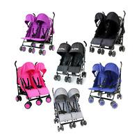 Baby TWIN Lightweight Pram Stroller Travel Buggy Child Double Pushchair New