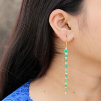 Emerald Gemstone Hook Dangle Earrings Solid 18k Yellow Gold Pave Diamond Jewelry