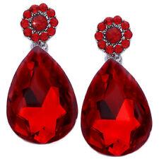 Red Flower Dangle Teardrop Prom Party Stud Post Earrings Women Jewelry e3001r
