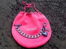 NIB Juicy Couture New Genuine Blue Chain Link Statement Bracelet Wth T.Bar Close