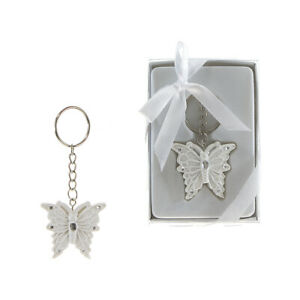 Mega Favors - Keepsake Butterfly Poly Resin Key Chain - White, 12PCS
