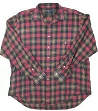 Mens Ralph Lauren Tildon Plaid Flannel Long sleeve Crest Rockabilly   A1