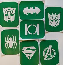 7 x Transformers and super Hero Face Painting  Glass Etching Glitter, Stencil