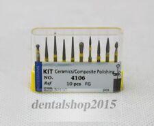 10pcs Dental Diamond Burs For High Speed Drills Ceramics Composite Polishing Bur