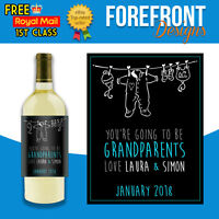 Personalised New born/baby wine bottle label, Perfect Grandparent/parent Gift