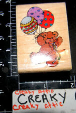 BALLOON BEAR STUFFED AMIMAL RUBBER STAMP STAMPEDE RETIRED
