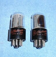 2 General Electric 6SN7GTB Vacuum Tubes - 1960's Vintage Audio Twin Triodes