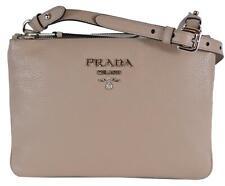 914e3323767c New Prada 1BH046 Cammeo Vitello Leather Bandoliera Double Zip Crossbody Bag