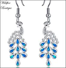 Mermaid Aqua Blue & Unicorn White FIRE OPAL Peacock Tail Earrings 925 Silver