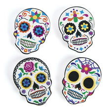 12 WOOD Halloween sugar skull DAY OF THE DEAD Party Decor Clips MESSAGE HOLDER