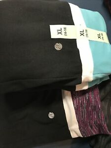 Bally Total Fitness Yoga Pant Sz XL womens turquoise black and 1 used black pink
