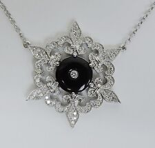 Magnificent New 14k White Gold Diamond Onyx Pendant On Chain Necklace