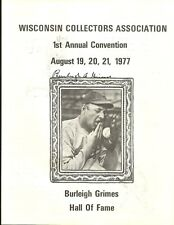Mlb Hall of Famer spit baller Burleigh Grimes Autograph on Front of a Booklet