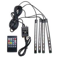 4X RGB 9LED DC12V Car Interior Neon Atmosphere Strip Control Remote Light H9C2