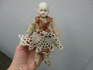 An Antique Georgian Victorian Bisque Porcelain Girl Doll with Clothes-c1830-1870