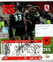 Multi Signed Programme Middlesbrough V Bournemouth Plus Ticket