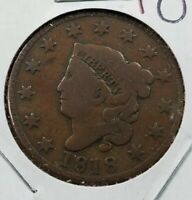 1818 Coronet Liberty Head US Large Cent 1c Choice Fine / VF Very Fine NICE