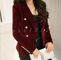 New Ladies Double-Breasted Lapel Blazers Formal Jacket Velvet Suit Slim Fit Coat