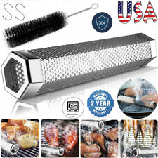 12″ Mesh Barbecue Bbq Smoker Tube Pellet Grill Smoke Pipe Wood Cold Hot Grilling