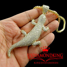 14K YELLOW GOLD FINISH LAB DIAMOND LEOPARD LIZARD CHARM PENDANT CHAIN NECKLACE