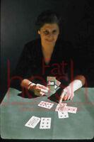 Vtg 1950's Woman Card Dealer 35mm Amatuer Slide Transparency