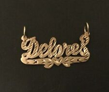 "10k yellow Gold single Name Plates "" Delores"" necklace pendant"