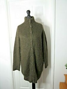 M&S Limited Collection Ladies Cardigan UK Large Long Mohair Blend Green Khaki