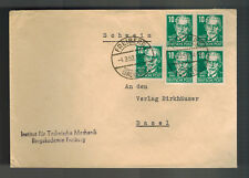 1952 Freiberg East Germany DDR Cover to basel Switzerland Bergakademie