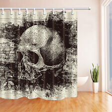 Skull Skeleton Bathroom Waterproof Fabric Shower Curtain & 12 Hooks 180*180cm